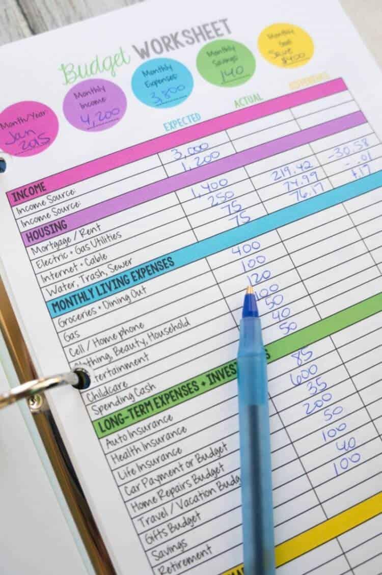 A Mom's Take Free Budget Worksheet