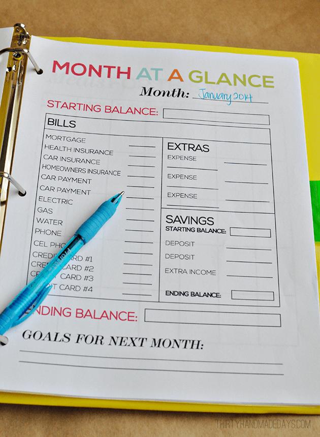 Thirty Handmade Days Free Budget Printable